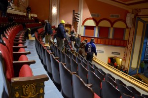 Marietta College Symphonic Band members touring the People's Bank Theatre on Jan. 18. The band will be performing in the theater on April 18.