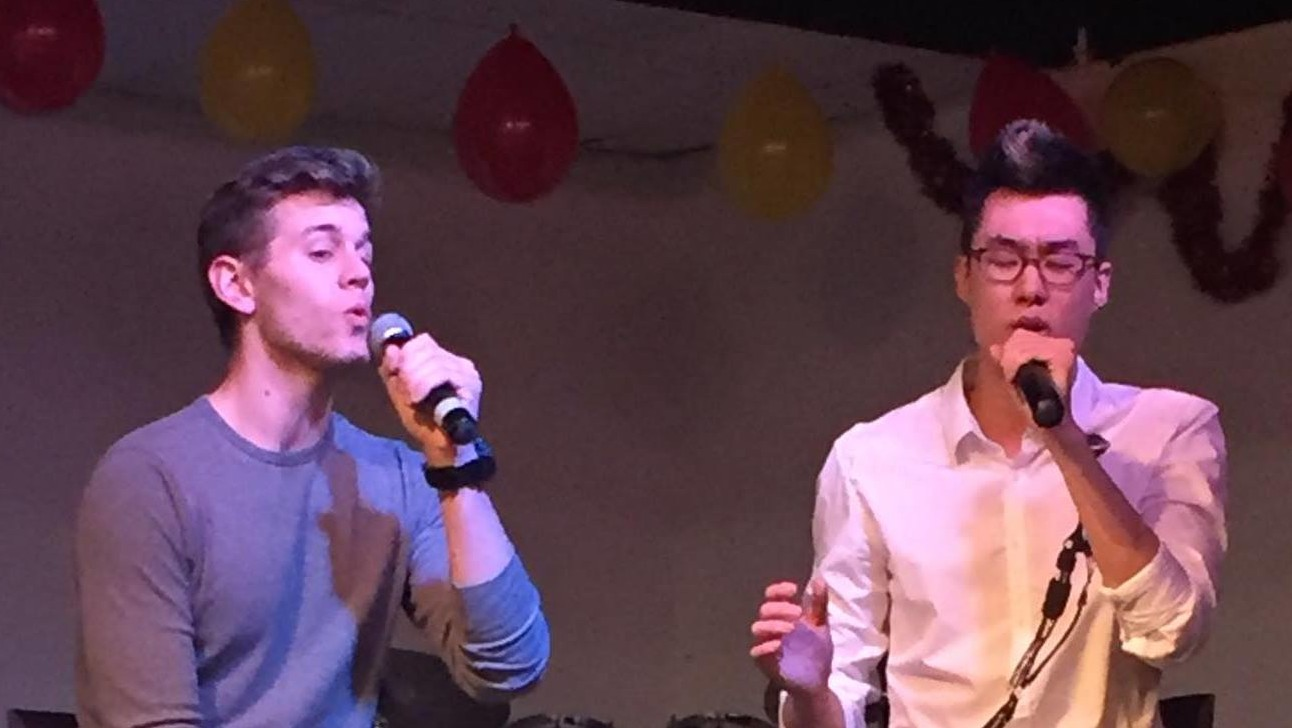 Photo by Matt Peters. Pictured (left) senior Connor Busby and sophomore Mark Bao performing their duet.