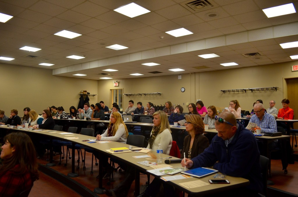 Photo by Matt Peters. Campus and community members attend the PioPitch session on Jan. 28.