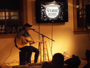 Photo by Elaina Eakle. Junior Whitley Trusler performs at the first performance of PAC's The Vibe coffee shop music series on Jan. 28.
