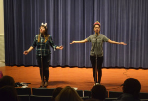 Photo by Elaina Eakle. Olivia Gatwood and Megan Falley perform poetry in McDonough Auditorium on Feb. 27.