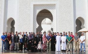 Petroleum students pose for a group photo in Dubai. Image submitted by Katie Plas.