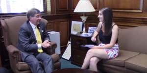 Dr. Ruud sits down with Lucy Wells for WCMO. Image is a still frame from the interview.