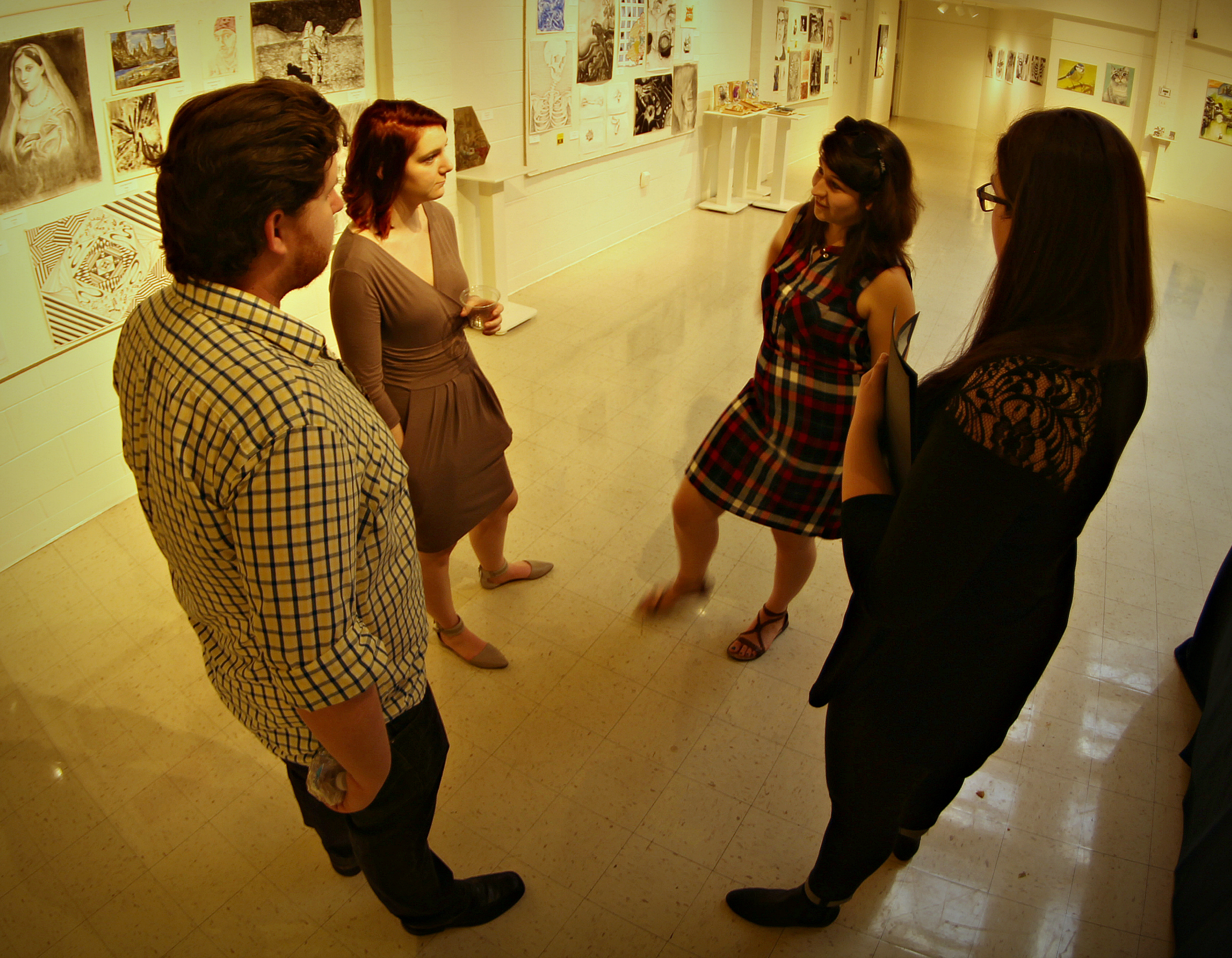 Art and design students converse. Photo by Matt Peters.
